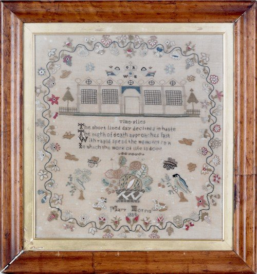47: Silk on linen sampler, dated 1834, wrought by
