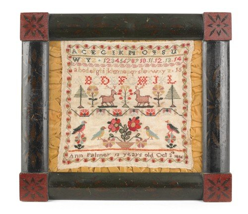 50: Silk on linen sampler, dated 1856, wrought by