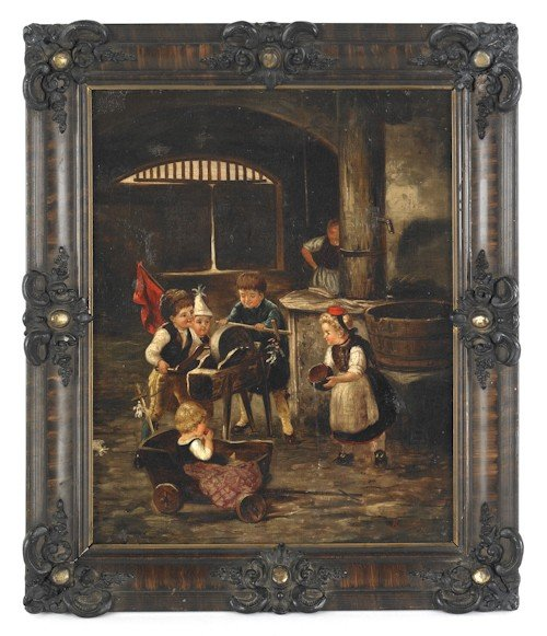 60: Continental oil on canvas interior scene with chi