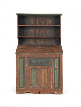 Painted Pine Wall Cupboard, 66 1/2'' H., 37'' W.