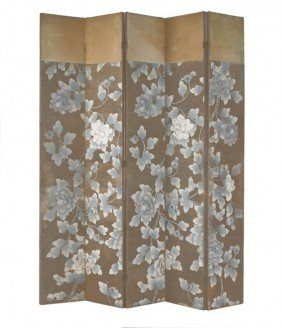 Painted Five-part Folding Screen, 82 1/2'' H., 65'