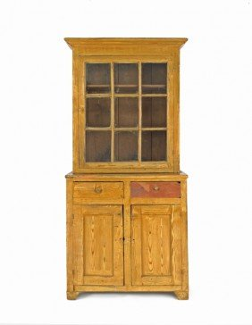 Pennsylvania Painted Pine Two-part Wall Cupboard,