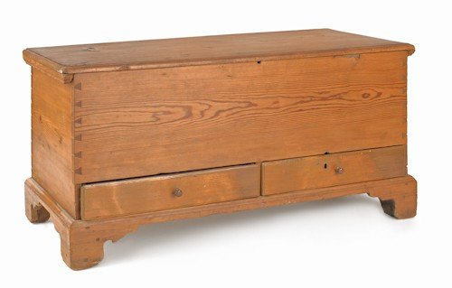 173: Hard pine blanket chest, ca. 1800, 24 1/2'' h., 48