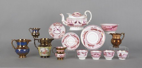 174: Fourteen pieces of copper and pink luster, 19th c