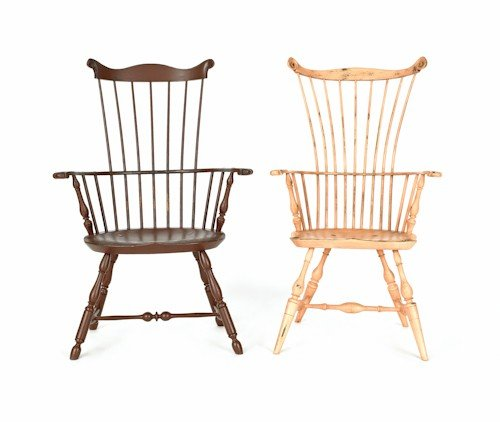 177: Two contemporary Windsor armchairs by W. Wallick.