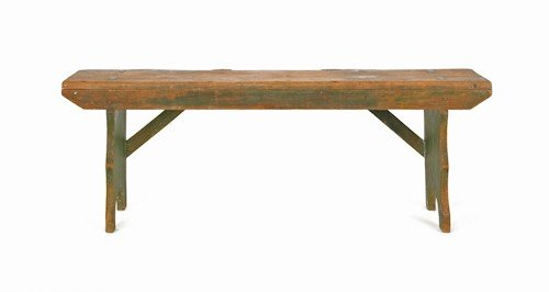 179: Painted pine mortised bench, 19th c., 17 1/2'' h.,