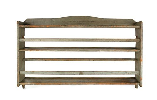 180: Painted pine hanging shelf, 19th c., 34 1/2'' h.,