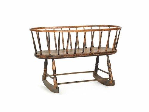 186: Windsor rocking cradle, ca. 1800, 25'' h., 39 1/2'