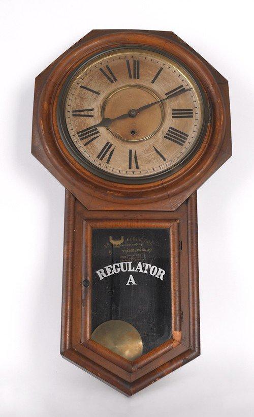 187: Ansonia regulator clock, 31 3/4'' h.