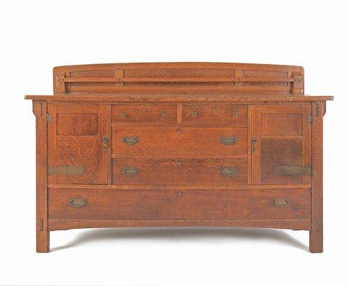 188: Limbert Arts & Crafts oak sideboard, 43 1/4'' h.,