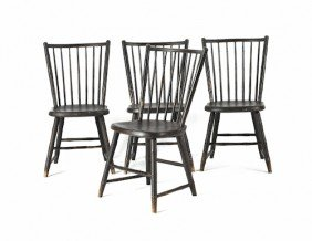 Set Of Four Rodback Windsor Side Chairs, Ca. 1810