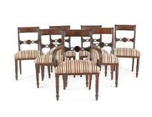 234: Set of seven Regency mahogany dining chairs, ca.