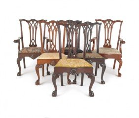 Six Chippendale Style Dining Chairs.