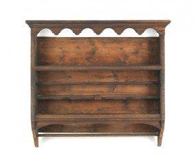 English Yewwood Hanging Cupboard, 41 1/2'' H., 46