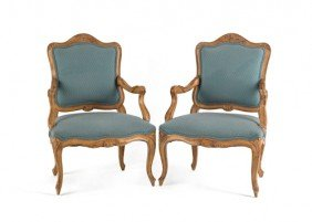 Pair Of French Carved Armchairs.