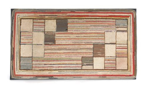 267: American geometric hooked rug, early 20th c. (fra