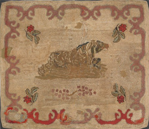 268: American hooked rug with tiger, early 20th c., 33