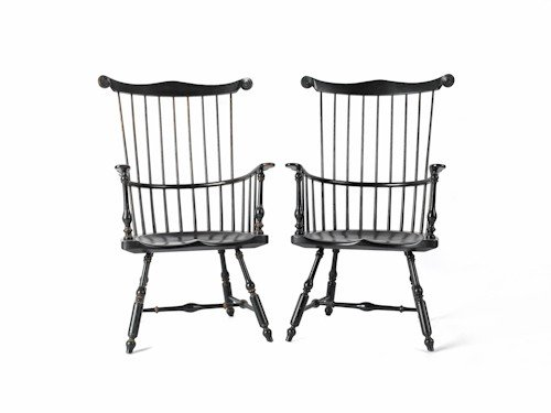 270: Pair of Saybold & Cleland Windsor armchairs.