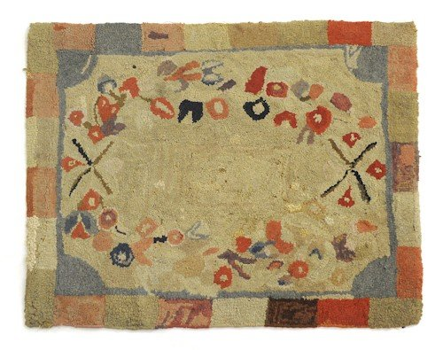 278: Three American hooked rugs, each 20th c., with fl