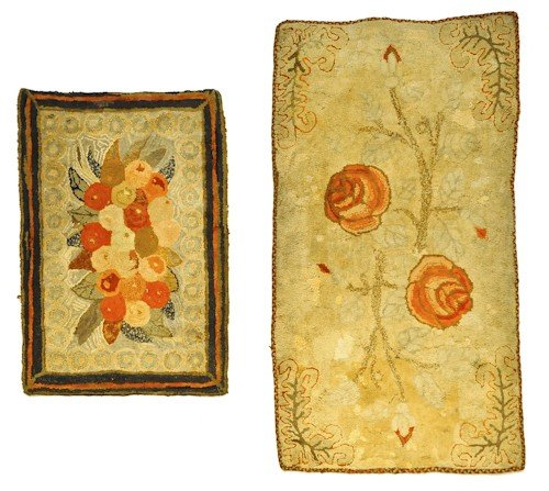 279: Three American hooked rugs, early 20th c., with f