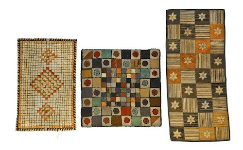 280: Three American hooked rugs, early 20th c., with o
