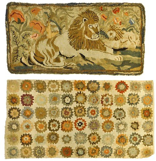 281: New England hooked rug, early 20th c., with lion,
