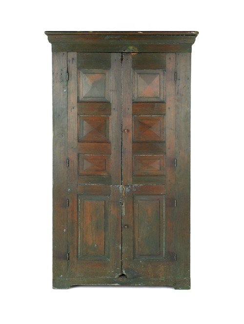 284: Painted pine wall cupboard, early 19th c., 73 1/4