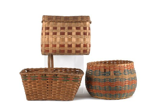288: Three woodlands painted baskets.