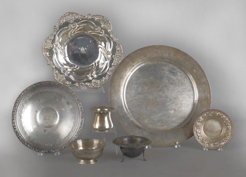 492: Collection of sterling silver tablewares, 86 ozt.