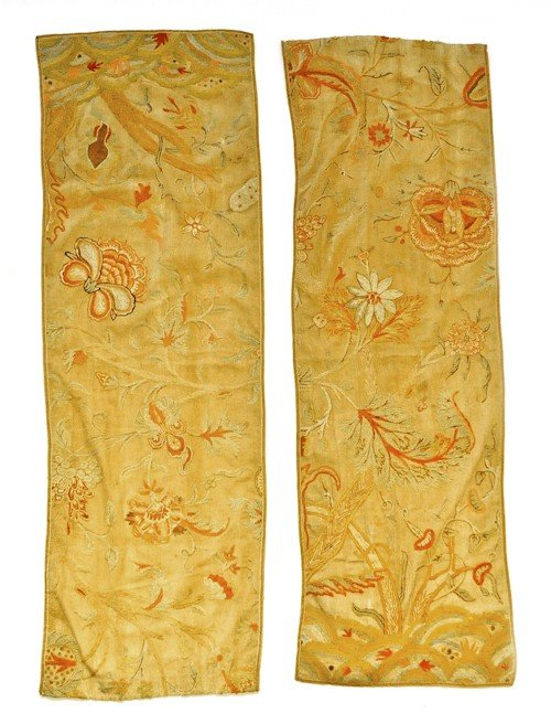 752: Pair of crewelwork panels, 62'' h., 19 1/2'' w.