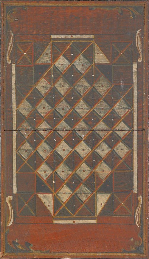 753: Painted double-sided gameboard, early 20th c., 20