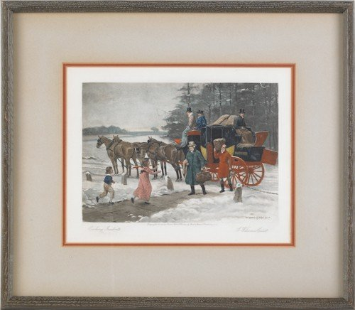 754: Three stagecoach lithographs, after Kilburne, tog