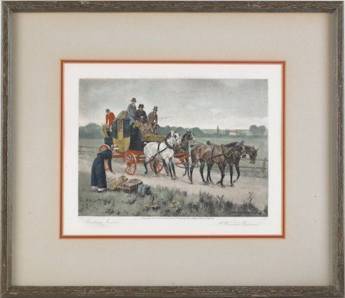 754: Three stagecoach lithographs, after Kilburne, tog - 2