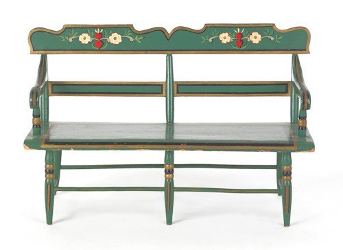 756: Miniature painted settee, bearing the paper of G