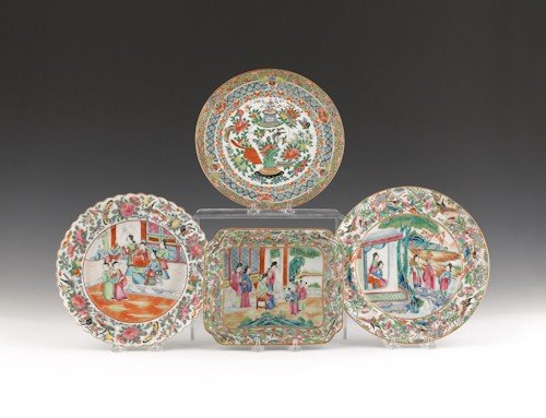 757: Three rose medallion plates, 9 1/2'' dia., togethe