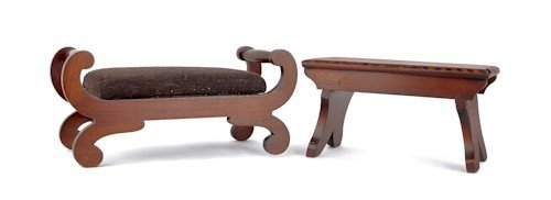 758: Two mahogany footstools, late 19th c., 8 1/2'' h.,