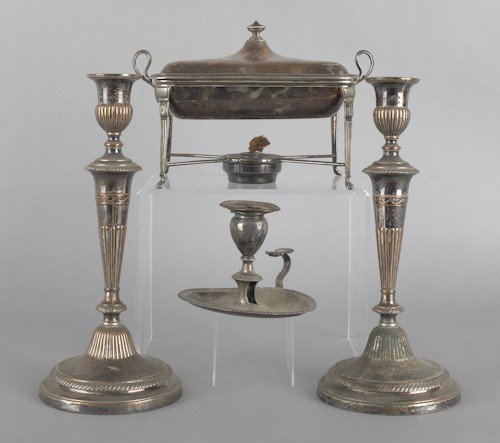 759: Pair of Sheffield plated candlesticks, 12 3/4'' h.