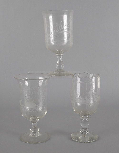 762: Three etched colorless glass celery vases, 19th c