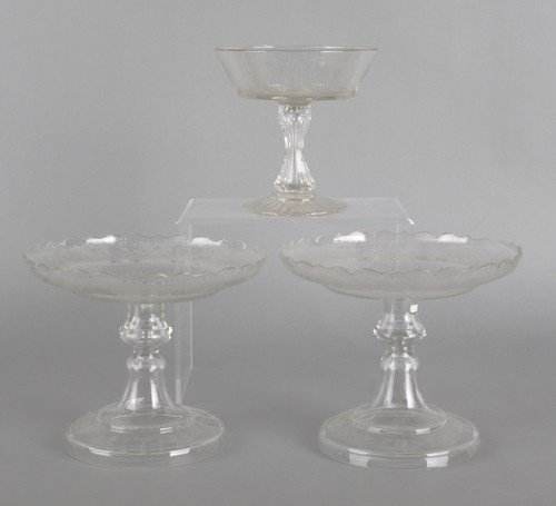 763: Pair of etched glass compotes, 7 1/2'' h., 9'' dia