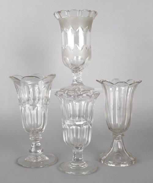 764: Four flint glass celery vases, 19th c.