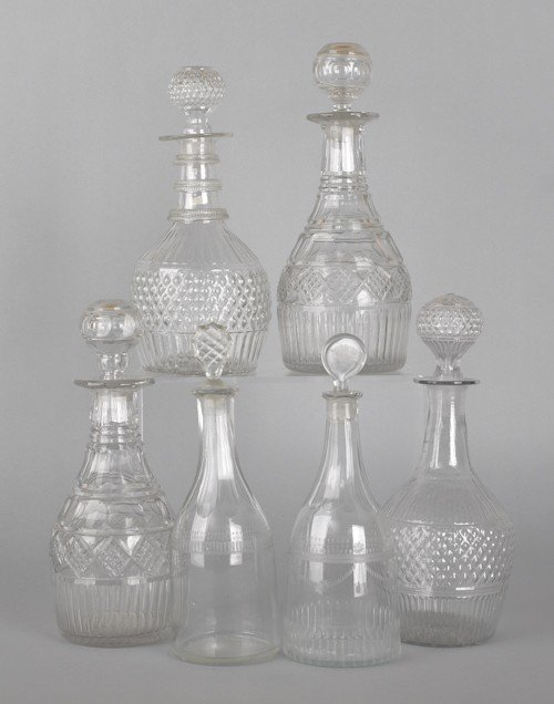 765: Six colorless glass decanters, 19th c., tallest -