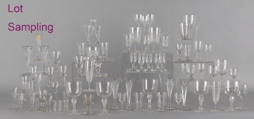 767: Large collection of colorless glass stemware, 19t