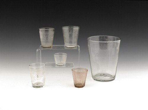 771: Five etched colorless glass cups, 18th/19th c., t