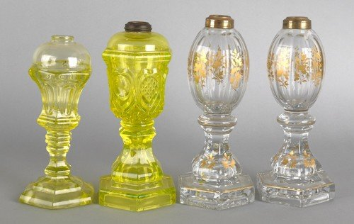 772: Pair of gilt decorated colorless glass whale oil