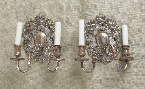775: Pair of silver plated sconces, 9 1/2'' h., togethe