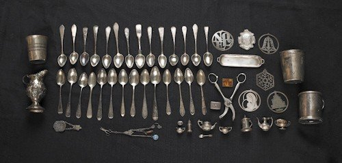 781: Collection of silver and silver plate, to include