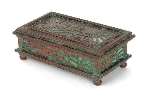 806: Tiffany Studios bronze and slag glass stamp box,