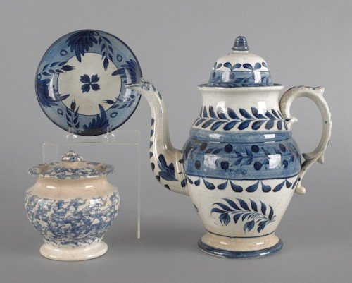 810: Leeds porcelain coffee pot, 19th c., together wit