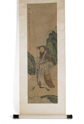 Chinese Painted Scroll, 19th C., 16 1/4'' W.