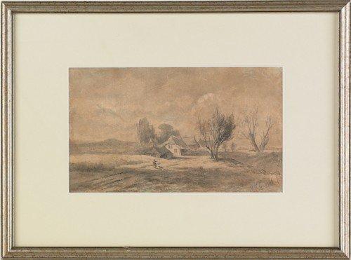 825: Watercolor landscape, 20th c., signed Paul Rosen